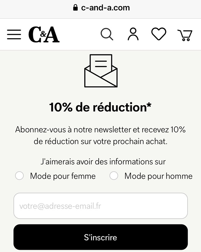C&A 家网购减百分之十