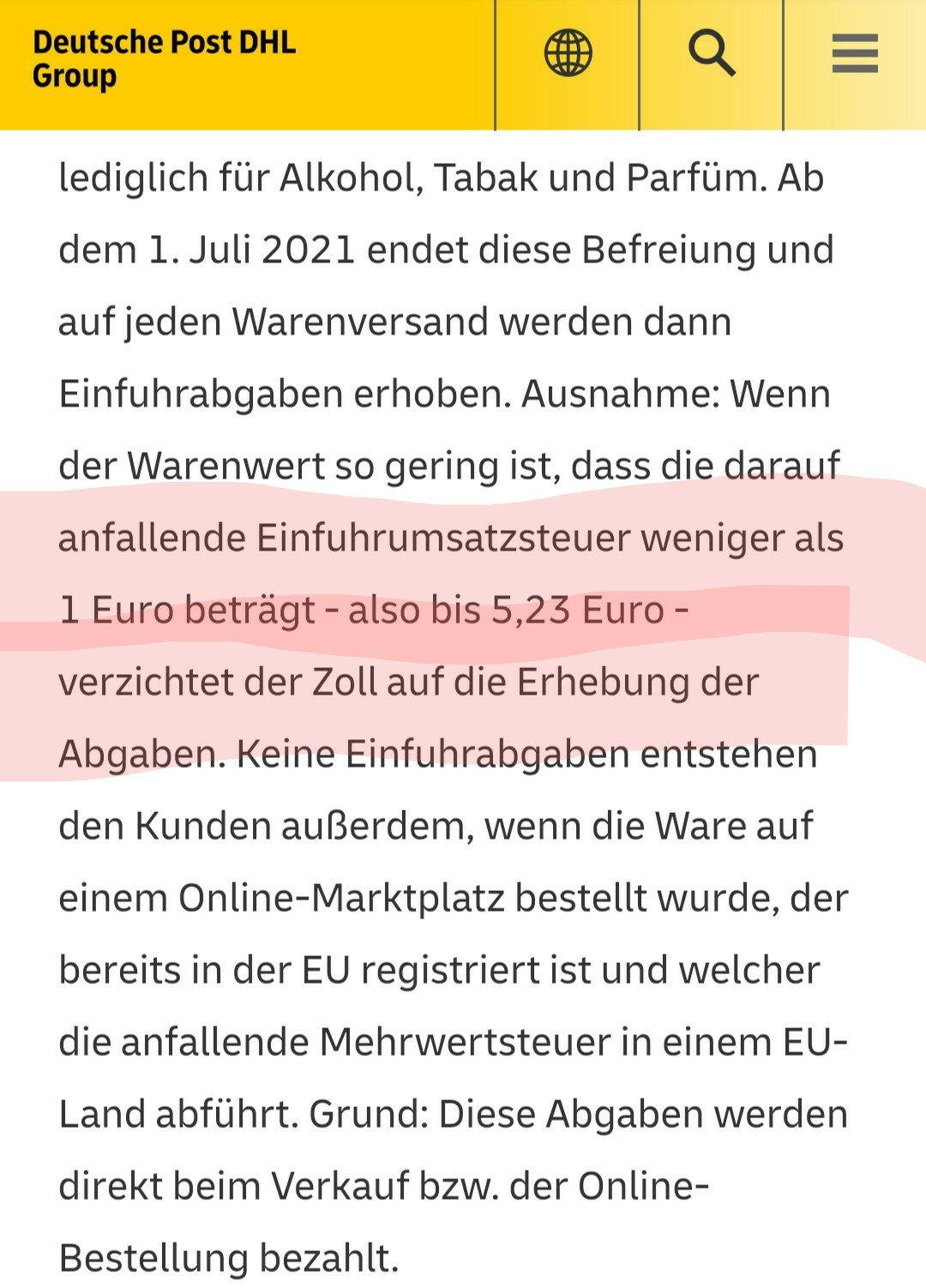 德国邮政对7月1号开始征收VAT的解释