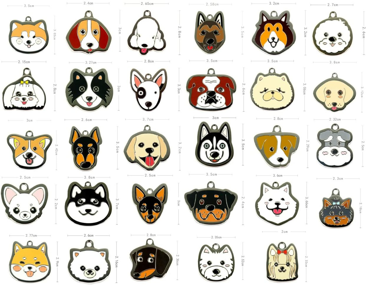 不同品种的狗牌