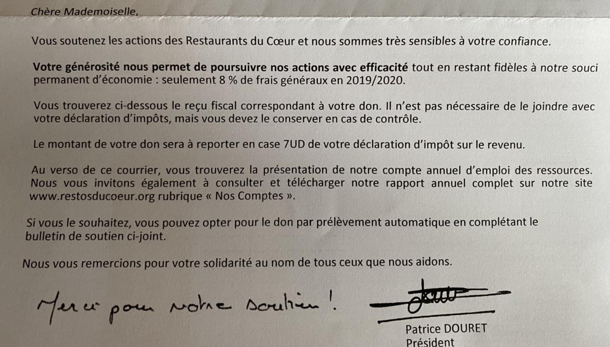 收到了Resto du coeur的recu fiscal