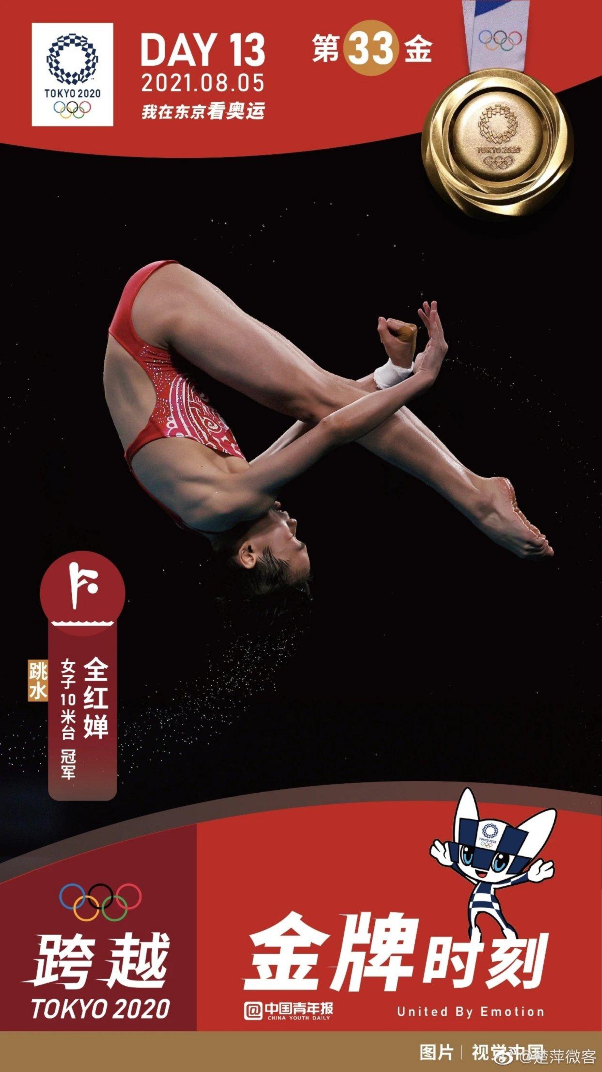 女子十米台的跳水冠军!!全红婵!