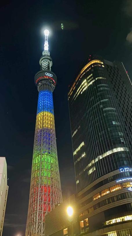 東京Skytree最後一次為奧運亮燈