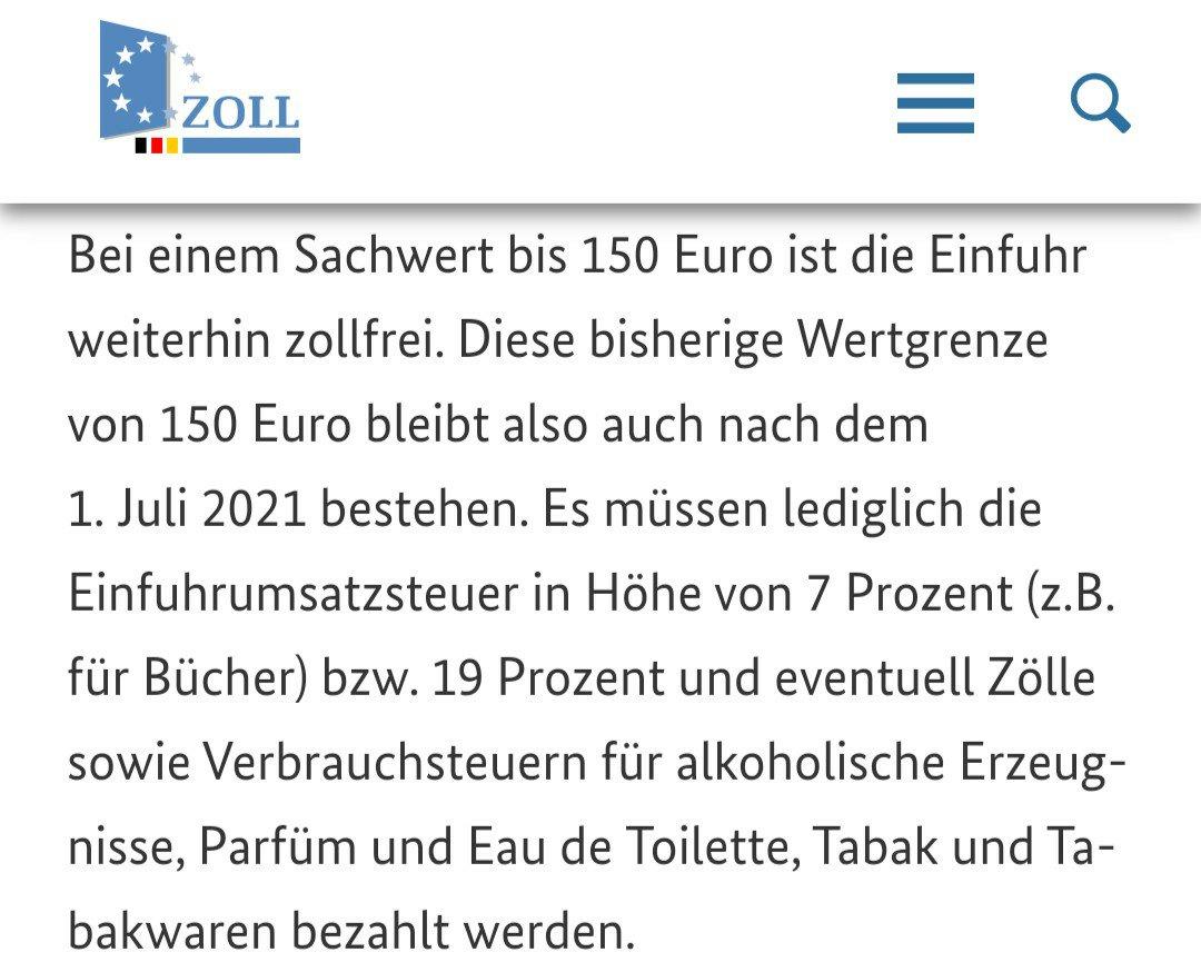 德国海关从7月1号起征收VAT